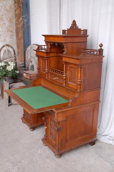 aufsatzschreibtisch gr nderzeit eiche verkauft antik im hof. Black Bedroom Furniture Sets. Home Design Ideas