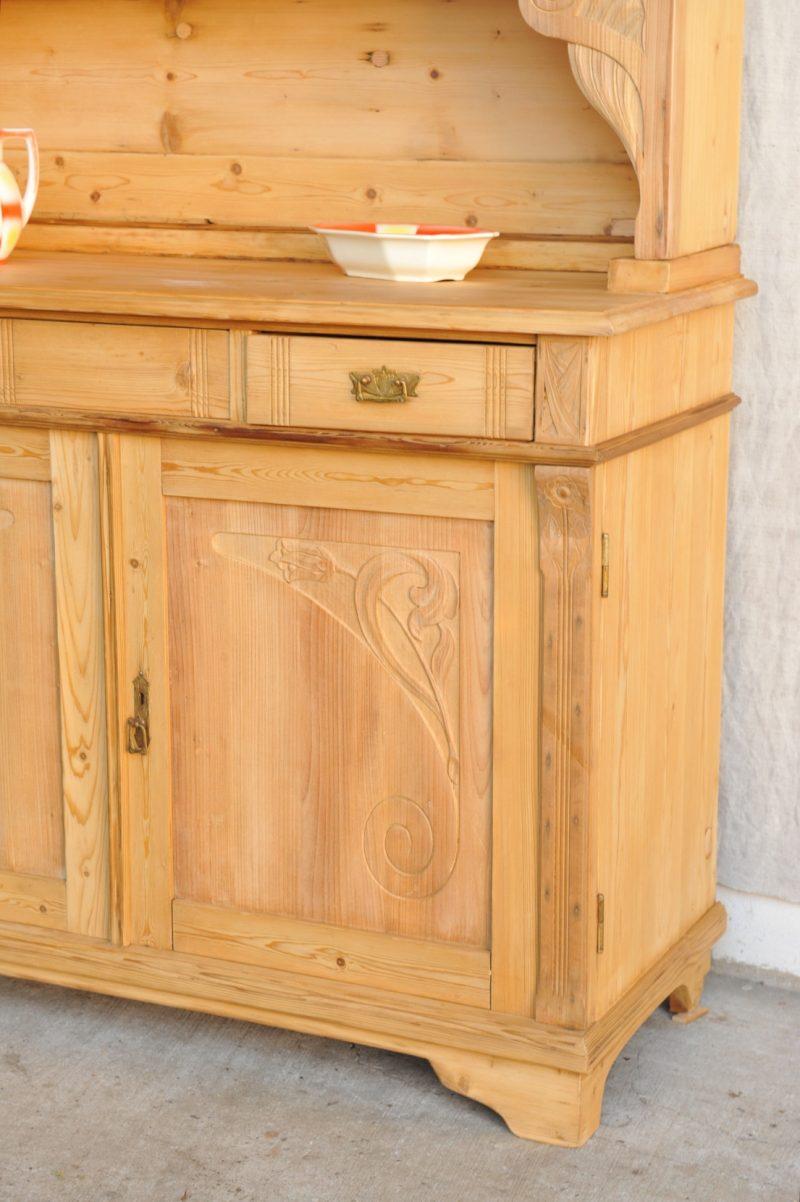k chenschrank jugendstil weichholz antik im hof. Black Bedroom Furniture Sets. Home Design Ideas