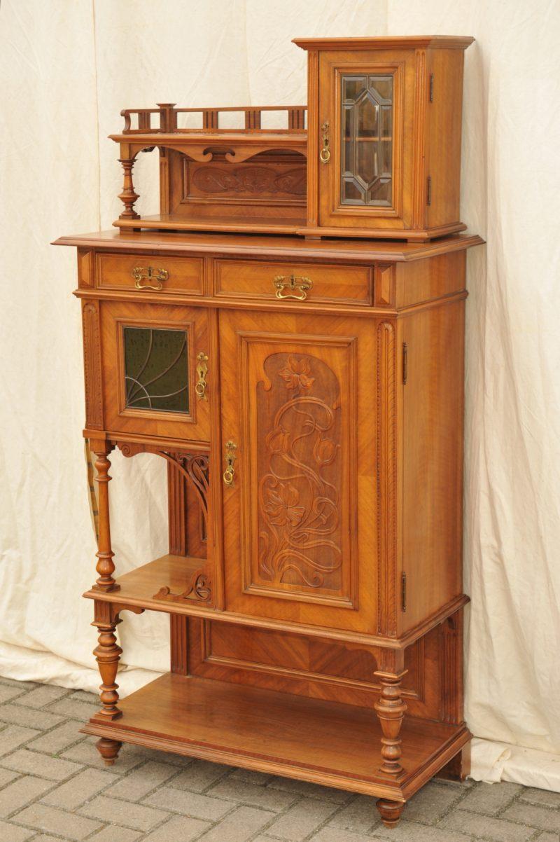 jugendstil vertiko etagere nussbaum antik im hof. Black Bedroom Furniture Sets. Home Design Ideas