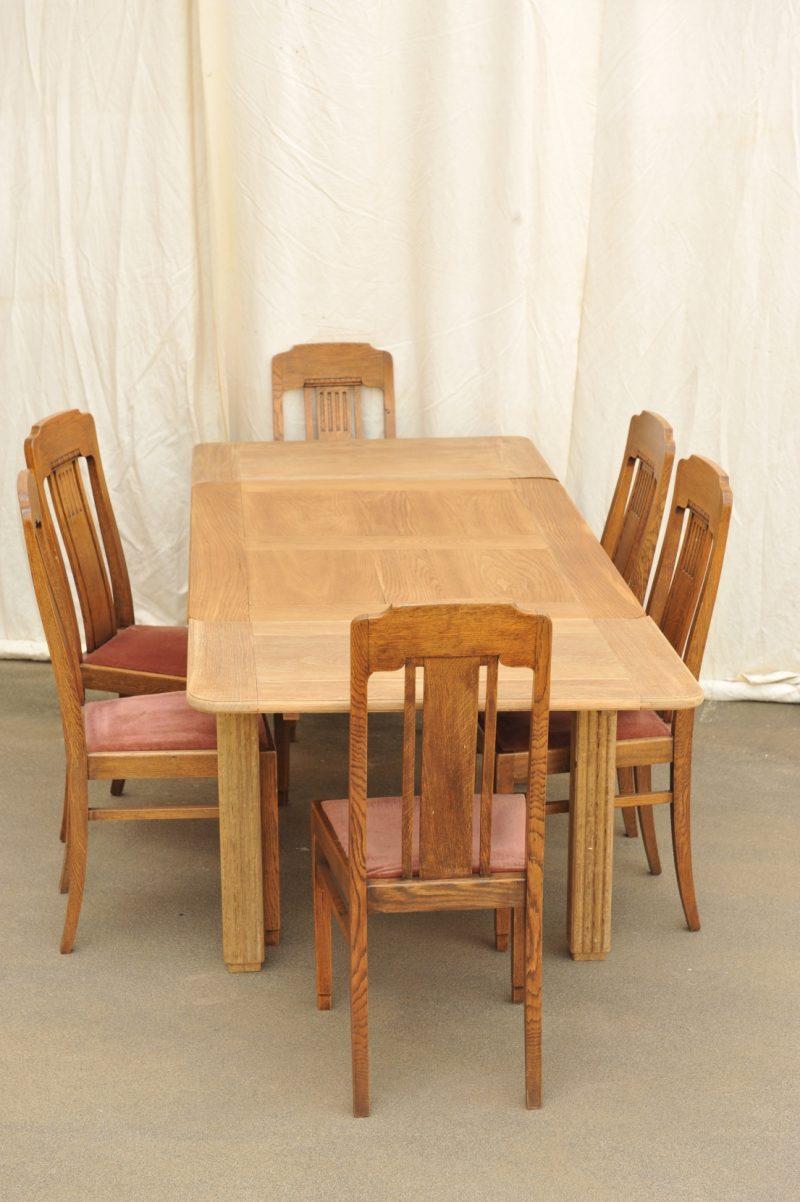 antiker esstisch ausziehtisch eiche mit sechs st hlen antik im hof. Black Bedroom Furniture Sets. Home Design Ideas