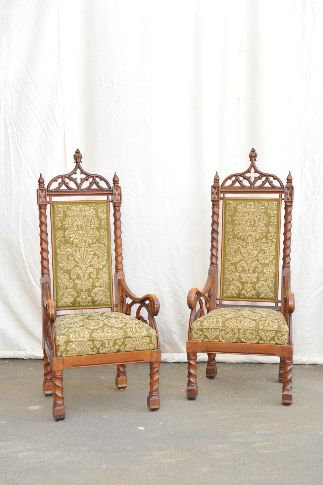 Paar Hochlehner Sessel Neo- Gotik