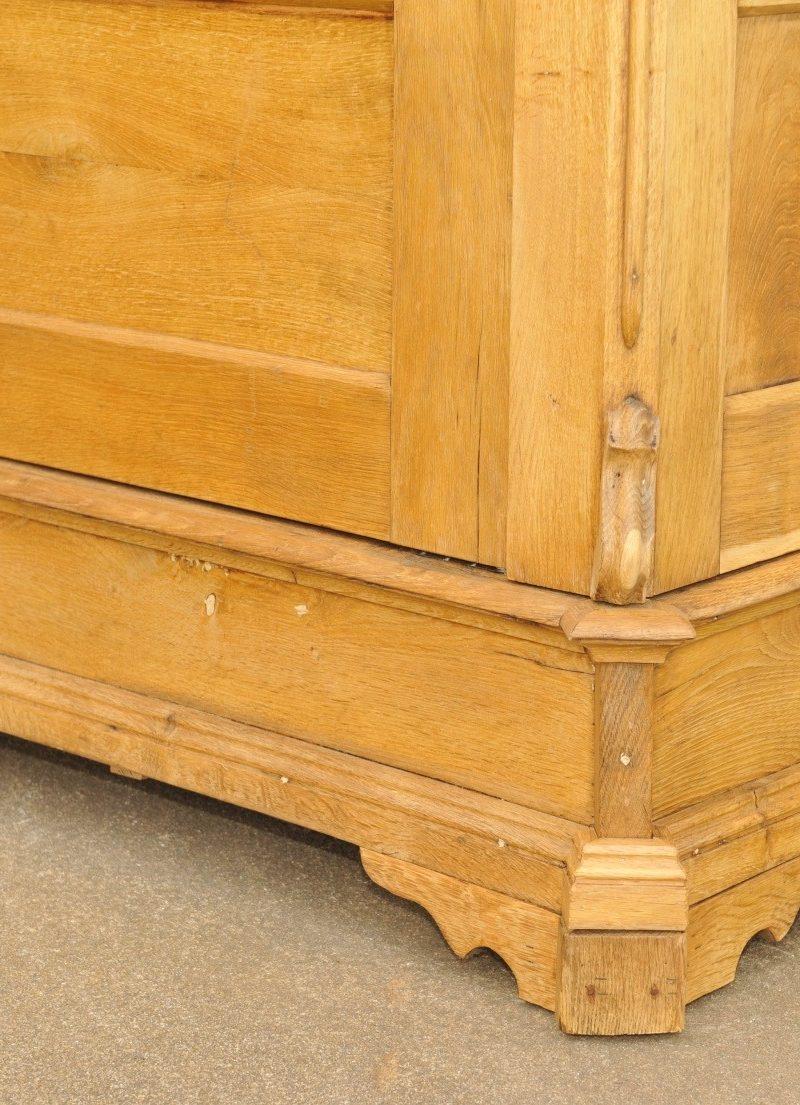 eintüriger Vitrinenschrank Eiche von 1860 Sockel
