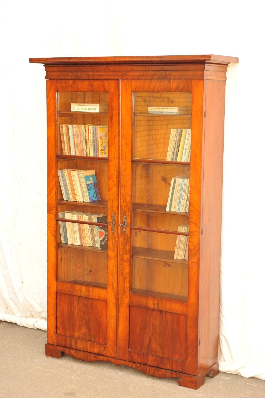 originaler Biedermeier Bücherschrank Mahagoni