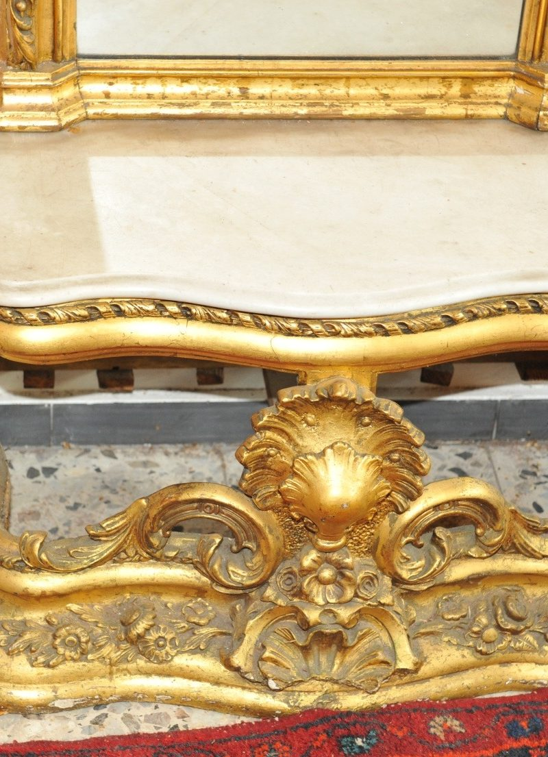 Konsole geschnitzter und vergoldeter Spiegel mit passender Konsole