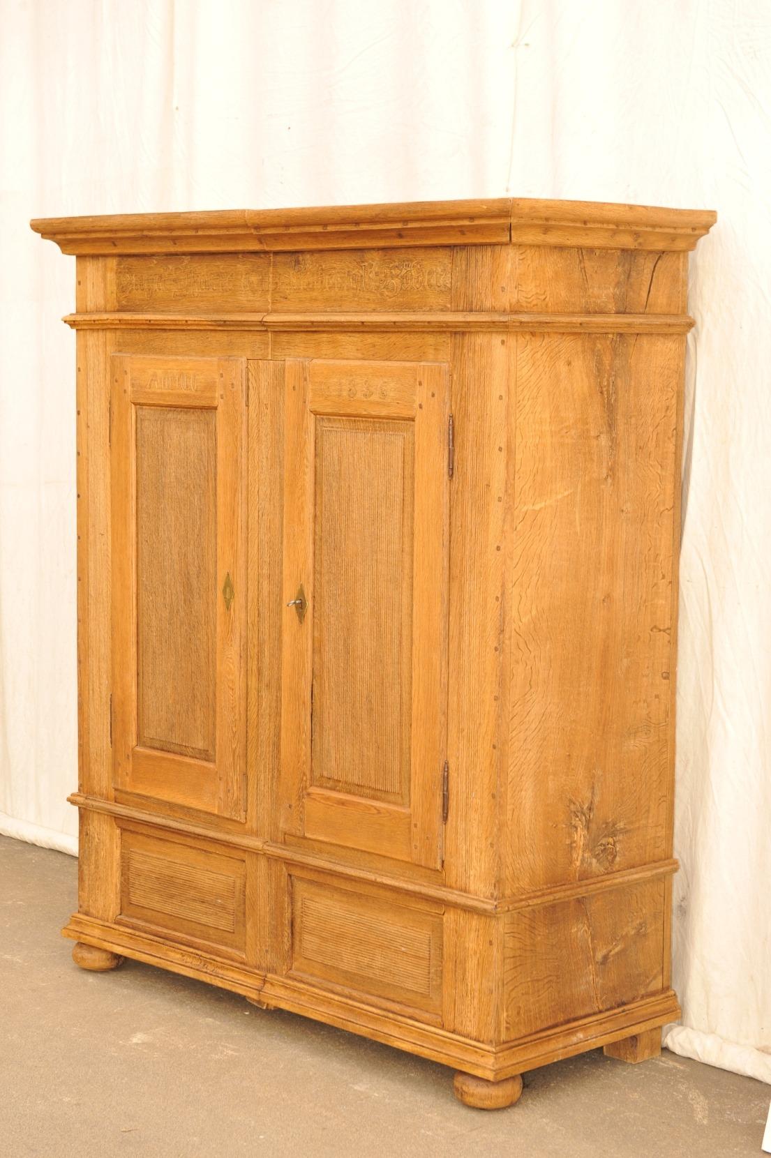 antiker Eichenschrank , Rillendekor, Brautgabe 1836