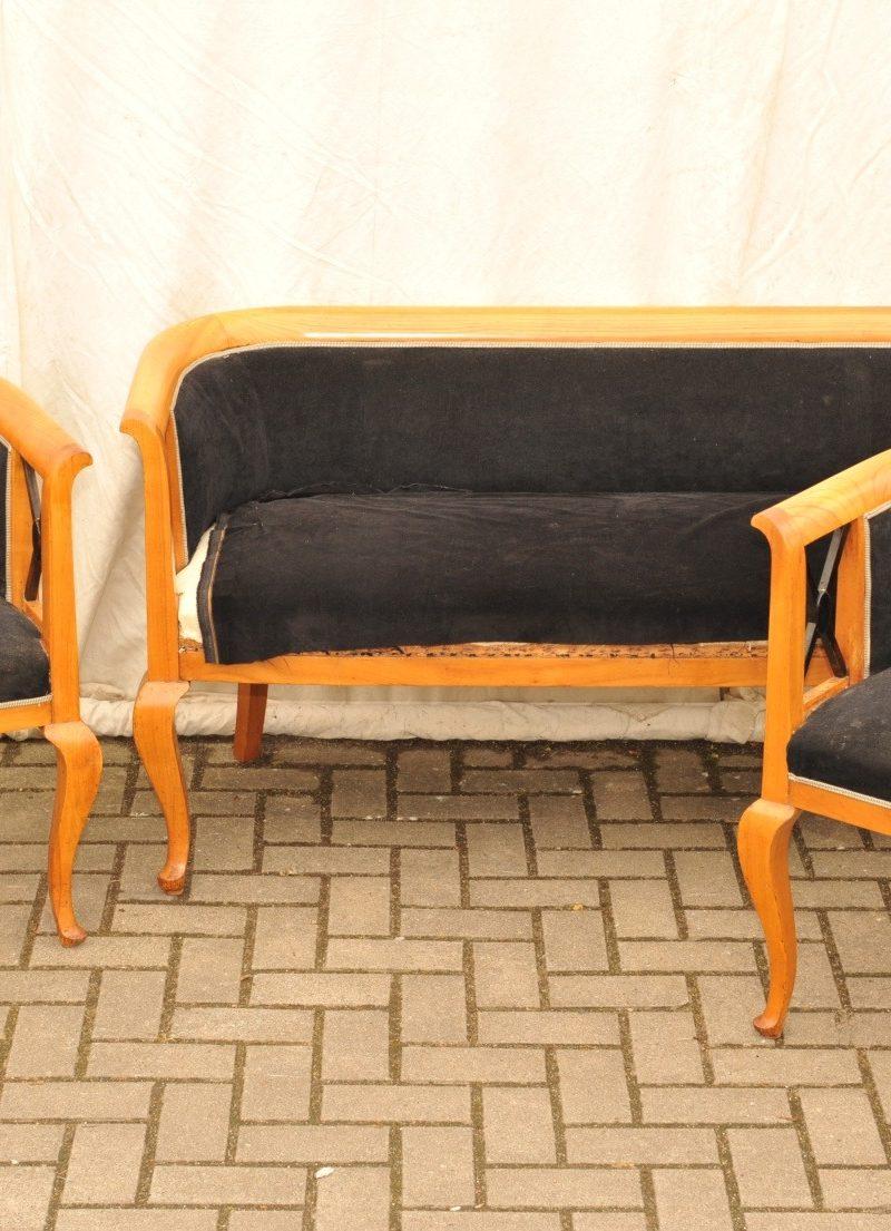 Sofabank und Sessel Kirsche Biedermeier Stil